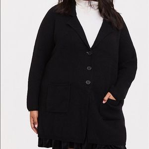 Torrid Black Notched Lapel Sweater Coat